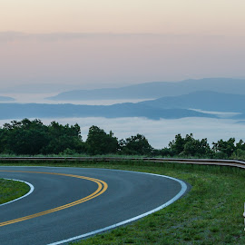 A Bend in the Road by Kevin Frick - Transportation Roads ( mountains, road, fog )