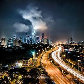 Kuala Lumpur Nightscape by Carlzman Tie - City,  Street & Park  Skylines ( color, malaysia, cityscape, landscape, city, nightscape )