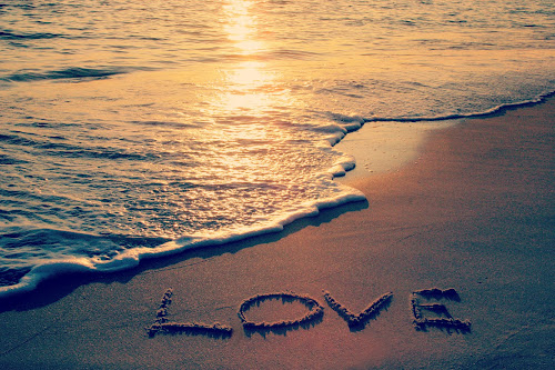 Love by Katie McKinney - Landscapes Beaches ( love, sand, text, words, creative, nature, florida, sunset, sundown, sea, ocean, beach, letters,  )
