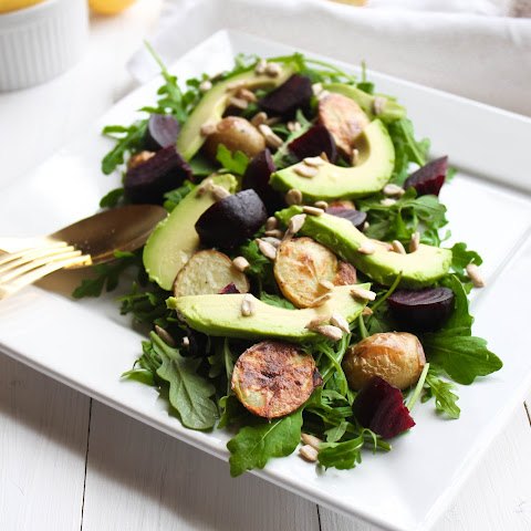 Roasted Beet & Potato Arugula Salad with Lemon Vinaigrette