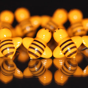 Busy Bees by Barb Toews - Artistic Objects Other Objects ( bees, thumbtacks, reflected, poster pins, tacks )
