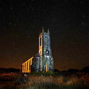Dunlewy Church by Brens Photo's - Landscapes Mountains & Hills ( ireland, the poison glenn, stars, night shoot, donegal, dunlewy church )