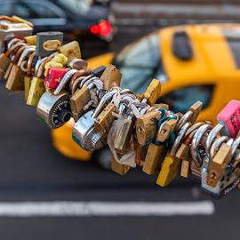 Brooklyn Bridge Love Locks by Arnab Dutta - Artistic Objects Other Objects ( love, brooklyn bridge, yellowcab, locks )