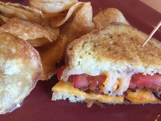 Three grilled cheese on gluten free bread with house made potato chips