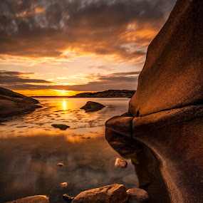 by Patrick Pedersen - Landscapes Waterscapes ( raaholmen, water, fredrikstad, golden skies, sunsets, patrick pedersen, vann, patrick p, long exposure, aqua, skies, norway )