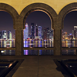 Corniche buildings thru window view by Selvakumar Mani - Buildings & Architecture Architectural Detail ( rebel t3i, canon, sigma, sigma 17-50 f2.8, doha, low light, qatar, 600d )
