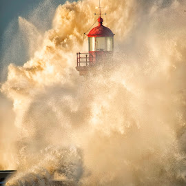 Lady of the Light by Linette Simoes - Nature Up Close Water ( water, crashing waves, waves, lighthouse, sea, nature up close, seascape )