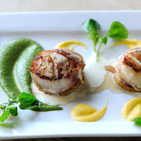 Scallops Wrapped In Prosciutto Ham With Butternut Squash And Watercress Purée