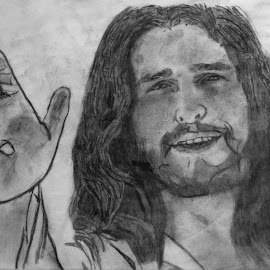 God shows his love for us in that while we were still sinners, Christ died for us. -Romans 5:8 by Alisa Wilkerson - Drawing All Drawing