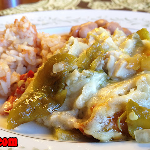 7. New Mexico Chicken Enchiladas w/ Creamy Green Chile Sauce
