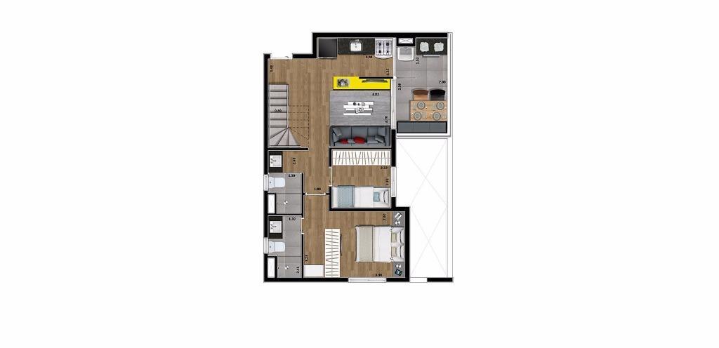 Planta Cobertura Inferior 132 m²