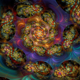 The Show Must Go On by Peggi Wolfe - Illustration Abstract & Patterns ( abstract, wolfepaw, bright, color, fun, spiral, fractal, digital )
