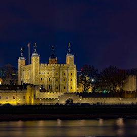 The Castle  by Constantin Levarda - Buildings & Architecture Public & Historical ( water, thames, blue hour, castle, photography )
