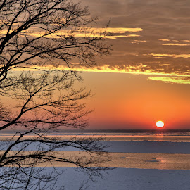 Goderich Sunset 3 by Terry Saxby - Landscapes Sunsets & Sunrises ( water, canada, terry, huron, sunset, goderich, ontario, lake, saxby, nancy )