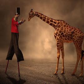 Give me a hug  by George Leontaras - Digital Art Animals ( hellas, volos, zoo, giraffe, digital art, glart, fine art, brown, manipulation, photoshop, animal )