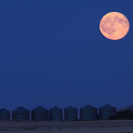 Blue Moon Over Harvest Bin Site by Brian Robinson - Landscapes Prairies, Meadows & Fields