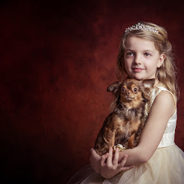 The little princess with her dog by Henk  Veldhuizen - Babies & Children Child Portraits ( child, princess, fine art, child portrait, chihuahua, dog, portrait )