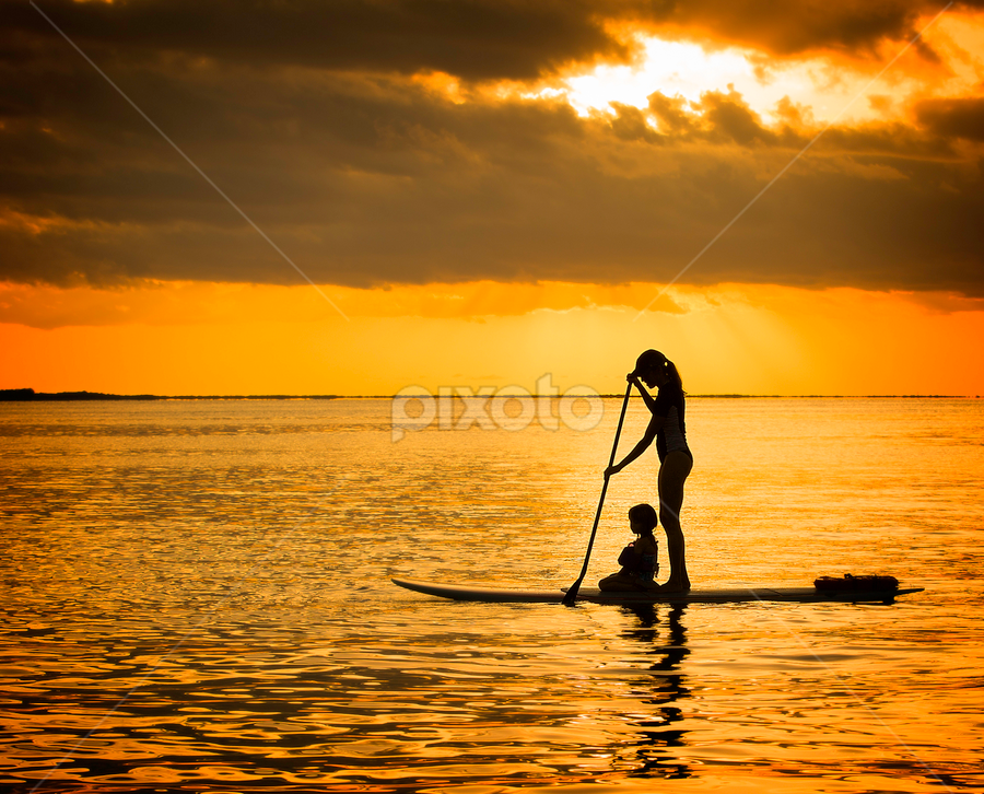 SUP1 by Troy Wheatley - People Family ( mother and child, sunset, paddleboard, water, paddle, sup )