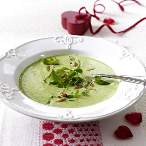 Cream of Arugula Soup with Toasted Pine Nuts