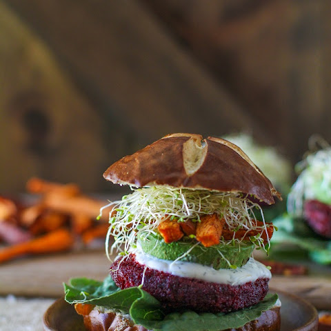 Moroccan-Spiced Beet Burgers with Herbed Goat Cheese