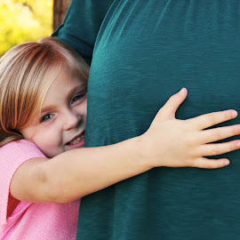 Hugging for Two by Rachael Frivaldo - People Family ( maternity, family, fall, daughter, babybump )