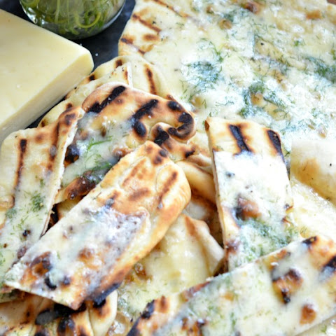 Grilled Flatbread with havarti + dill
