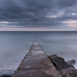 The slip by John Holmes - Buildings & Architecture Bridges & Suspended Structures ( concrete, sky, waves, worn, old, cloudsm, long exposure, weathered, sea, rocks, sunset, slipway, blue hour, breaking )