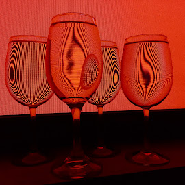 Scarlet  by Jon Ablicki - Abstract Light Painting ( optical, abstract, wine, red, red wine, glasses, light,  )