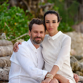 Sitting by Andrew Morgan - Wedding Bride & Groom ( love, elegant, happy, beautiful, beach )