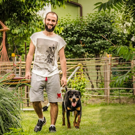 Companion by Ana Maria Gh - People Portraits of Men ( hapy, green, trees, friendly, trained, smile, dog, man, portrait )