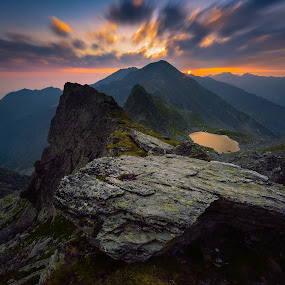 Follow the light by Lucian Satmarean - Landscapes Mountains & Hills ( clouds, mountain, peak, lake, rock, sunrise, sun )