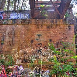 Abandoned And Decaying Railway Bridge by Ella Kingston - Buildings & Architecture Bridges & Suspended Structures ( push bikes, brick wall, rubbish, bridge, decaying bridge, junk )
