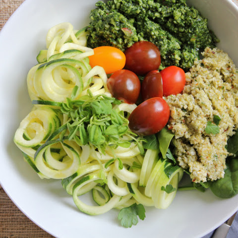Veggie Salad Trio with Zucchini Noodles and Pesto