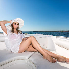 Megan with White Hat by Carl Albro - People Portraits of Women ( water, model, woman, boat, hat )
