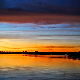 Reflecting Magnificent Colors by Cheri Shepherd - Novices Only Landscapes ( swirling, magnificent, clouds, reflection, sky, sunset, lake, dusk )