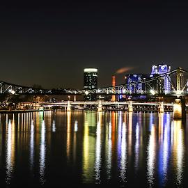 City night lights by Natalia Dobrescu - City,  Street & Park  Night ( lights, frankfurt, skyline, colors, long exposure, germany, night, cityscape, nightphotography, nightscape, city )