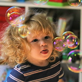 Elsie's Chasing Bubbles 2 by Terry Saxby - Babies & Children Child Portraits ( canada, terry, children, ontario, thunder bay, saxby, nancy, portrait )