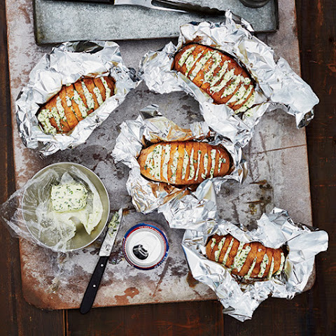 Grill-Baked Potatoes with Chive Butter