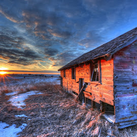 last leg by Casey Mitchell - Buildings & Architecture Decaying & Abandoned ( broken, dawn, sunsets, sunset, snow )