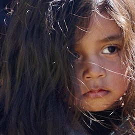 Watching and Waiting by Barbara Brock - Babies & Children Children Candids ( beauty in youth, sad child, big eyes, sadness, loneliness, long hair, young girl, lonely child, hispanic child, beautiful child )