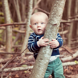 Tree Hugging by Jenny Hammer - Babies & Children Babies ( hug, tree, baby, cute, boy )