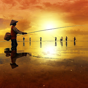 Fishing Season by Alit  Apriyana - Instagram & Mobile Android ( group., bali, beach, fishing, sunrise )