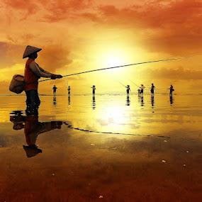 Fishing Season by Alit  Apriyana - Instagram & Mobile Android ( group., bali, beach, fishing, sunrise )