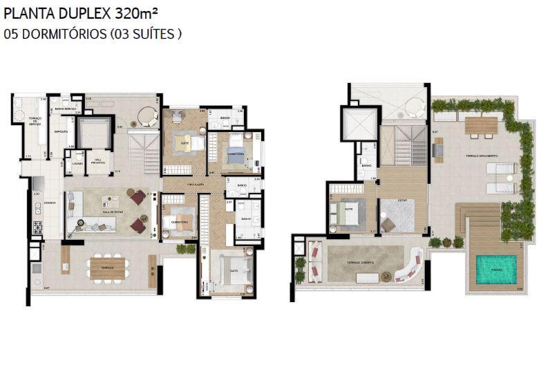 Planta 320 m² Duplex