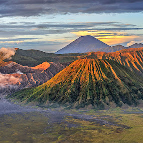 Good Morning, Mountains! by CK Lam - Landscapes Mountains & Hills ( mountains, indonesia, east java, mount bromo, volcanoes, mount batok, morning, mount semeru )