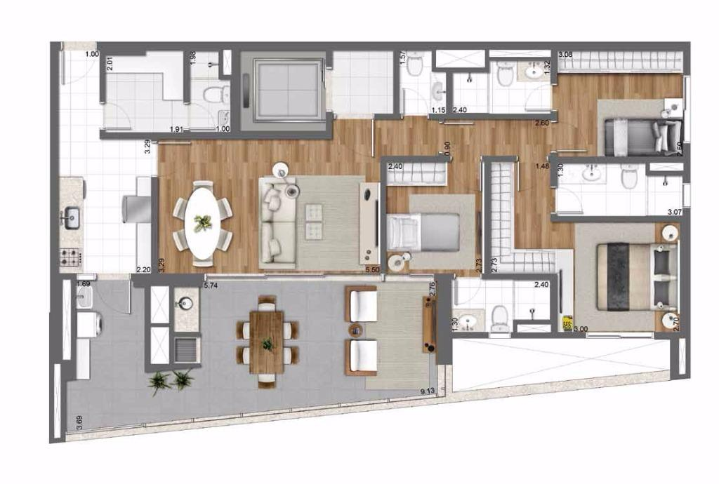 Planta Tipo - 128 m²