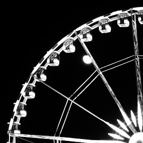 Moonrise over Ferris Wheel in Paris by Katie Ehrlich - City,  Street & Park  Amusement Parks ( paris, ferris, moon, wheel, france, moonrise )