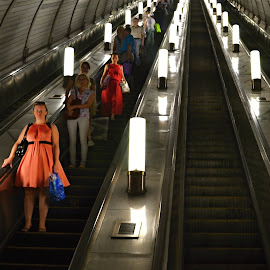 Underground Stairs. by Marcel Cintalan - Transportation Other ( lights, passengers, stairs, metro, moscow, underground )