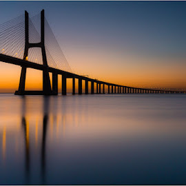 Vasco da Gama Bridge by Ryszard Domański - Landscapes Sunsets & Sunrises ( vasco da gama bridge, sunrise, bridge )