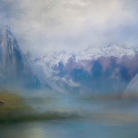 Mountain Retreat by Eileen Senter - Digital Art Places ( mountains, barns )